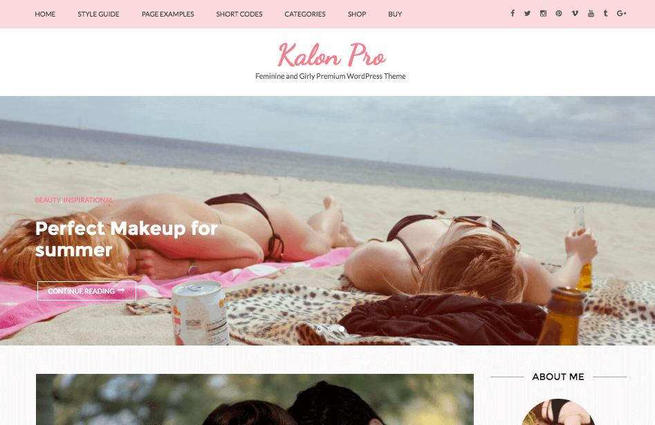 Kalon pro theme for food blog