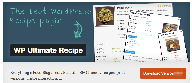 WP Ultimate Recipe Plugin for food blog