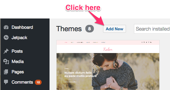 adding new theme on wordpress