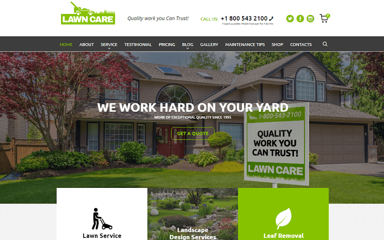 Lawn Care Services Is Lawn Mowing And Landscape Design WordPress Theme.  Itu0027s Clean Business Theme For Gardening, Lawn Care, Exterior Design  Portfolio, ...