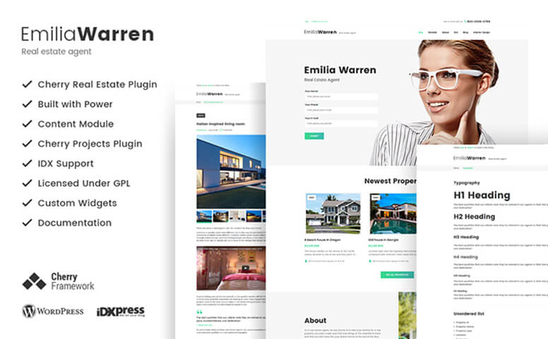 Emilia Warren - Real Estate Responsive WordPress Theme