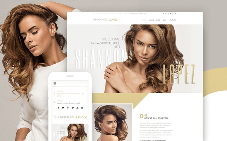 Shannon Lopez - Celebrity Responsive WordPress Theme