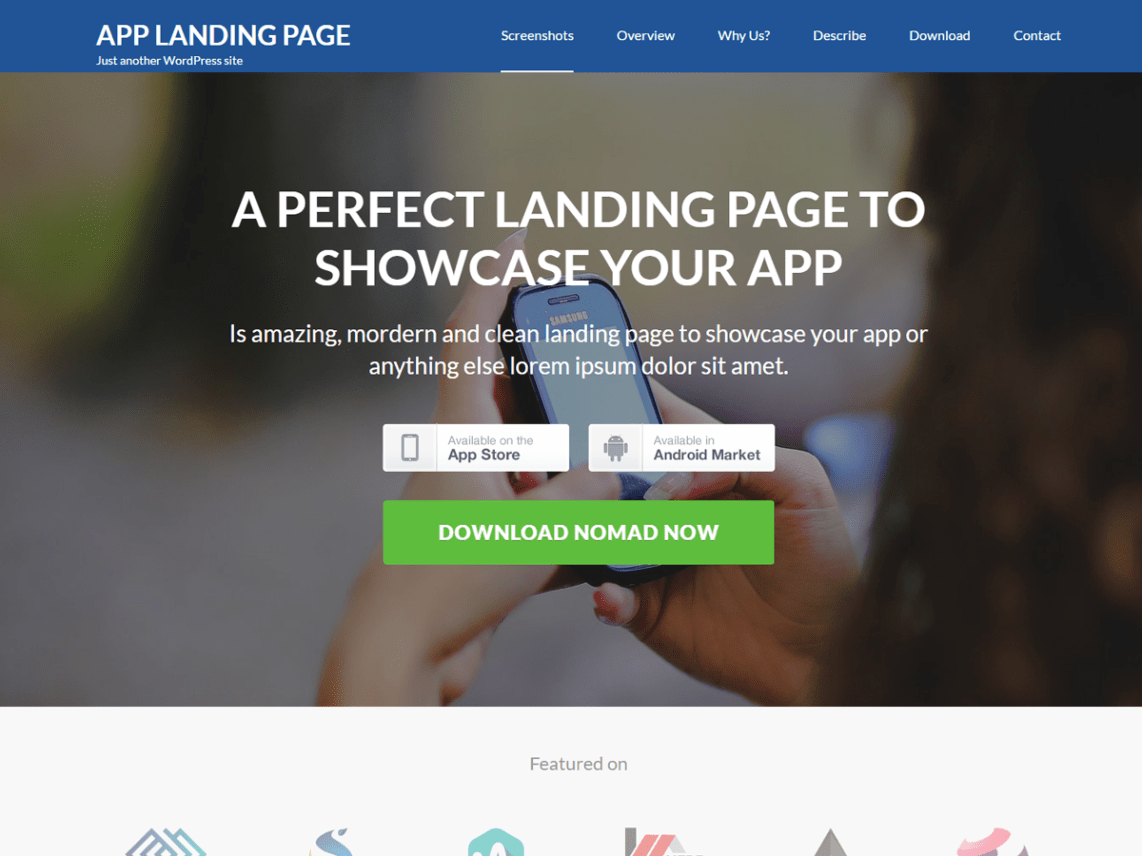 35 best free landing page wordpress themes of 2017 for Free landing page templates for wordpress