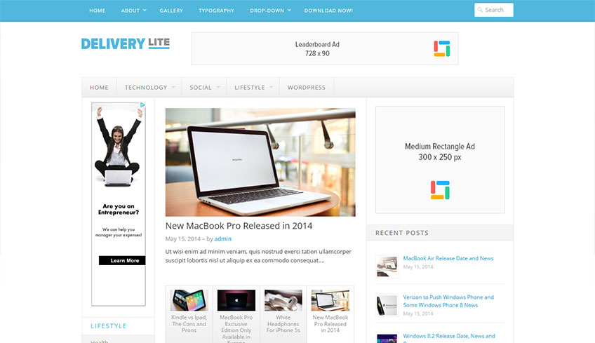 Delivery-Lite Free WordPress Theme