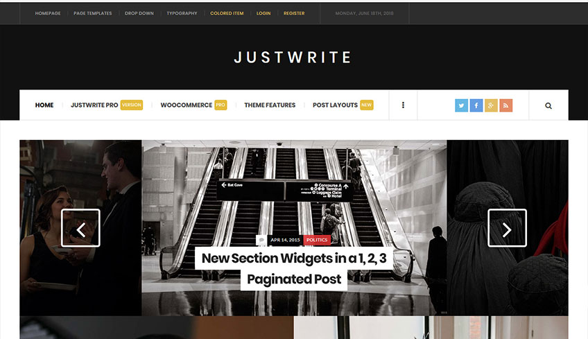 Justwrite Free WordPress Theme