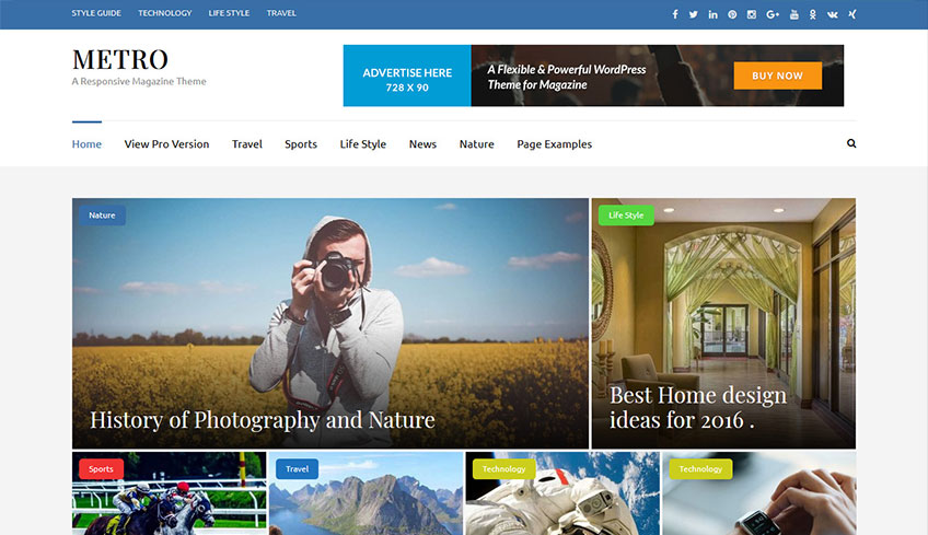 Metro-Magazine Free WordPress Theme