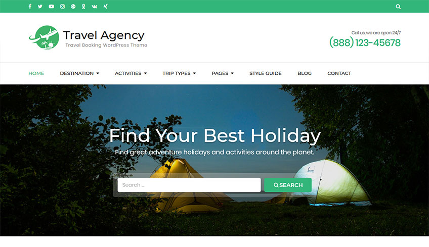 Travel-agency Free WordPress Theme