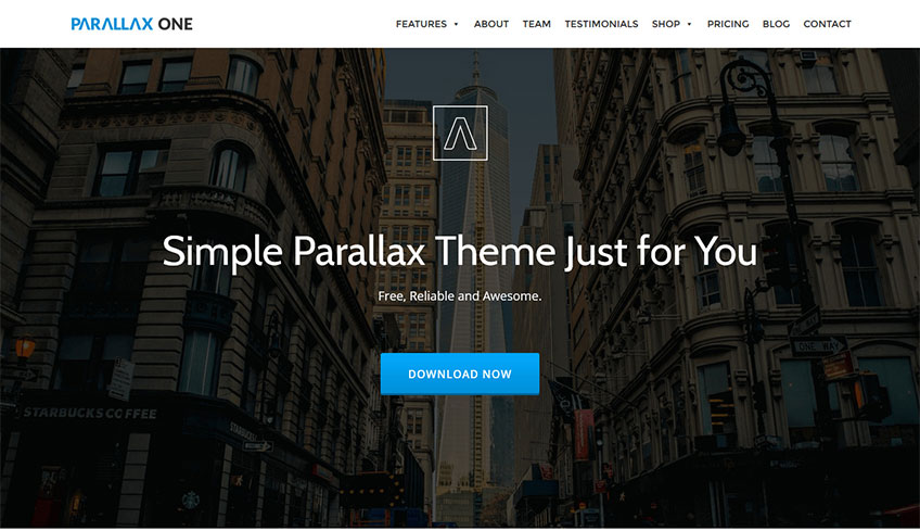 Parallax one free wordpress theme