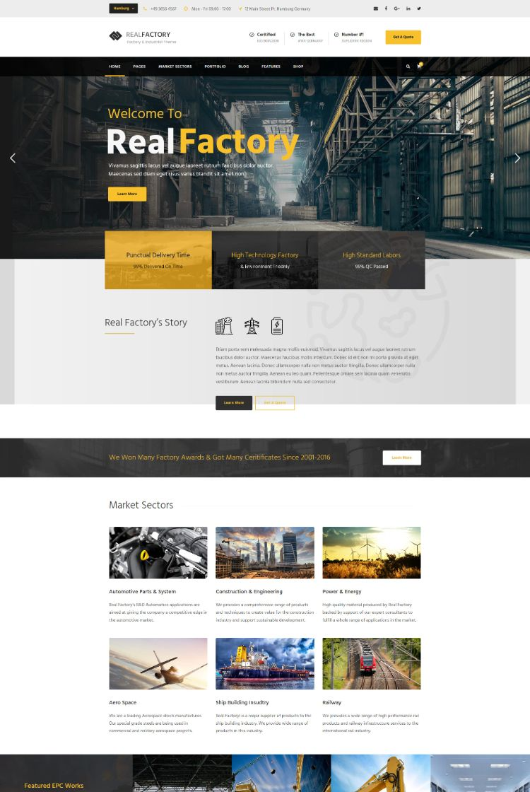 Real Factory – WordPress Theme For Factory Industry Construction