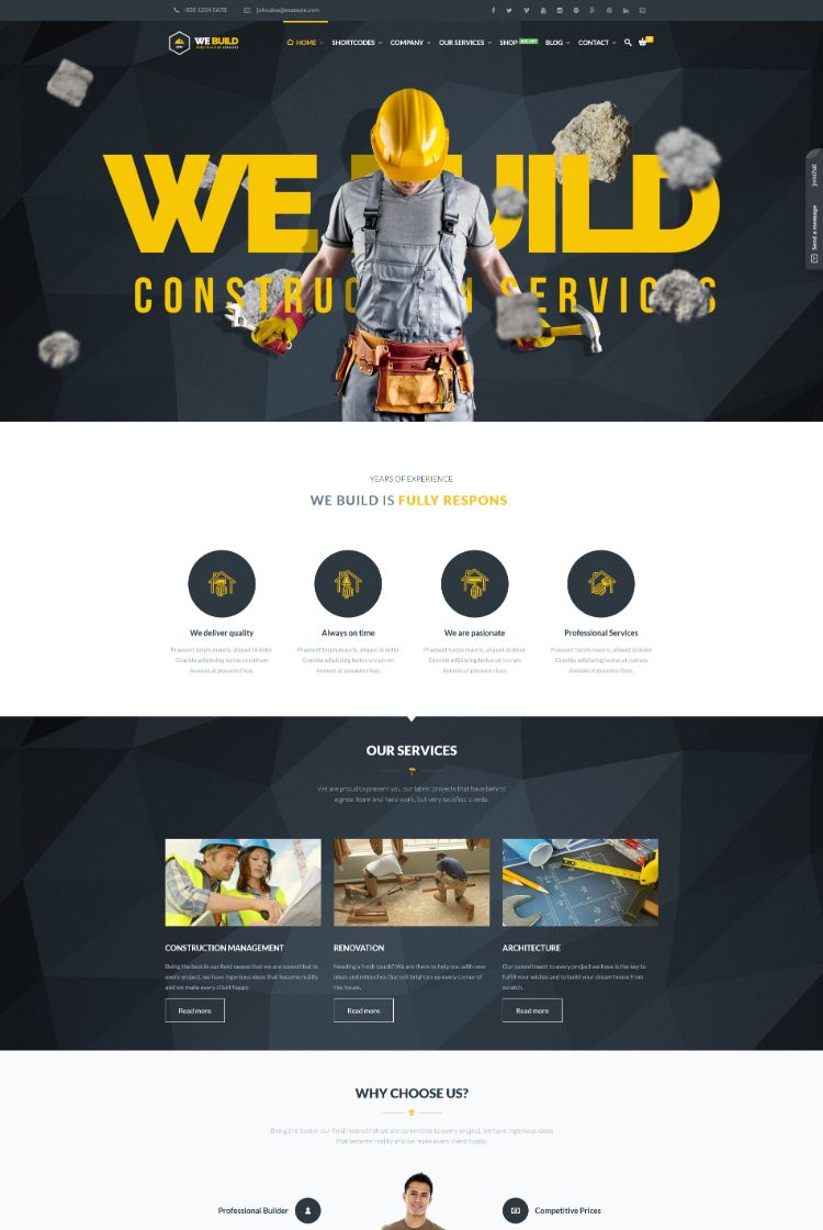 Best Construction Company WordPress Theme 2016 We Build