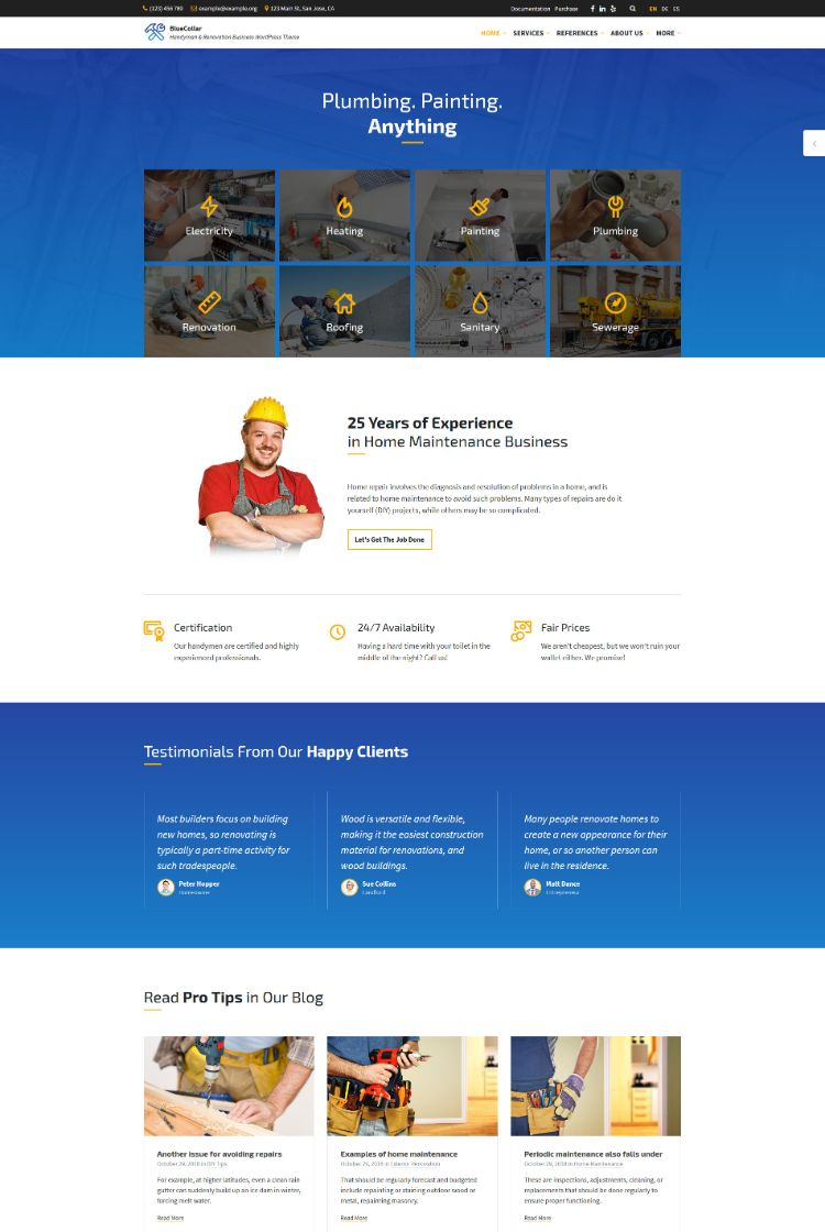 blue collar handyman wordpress theme