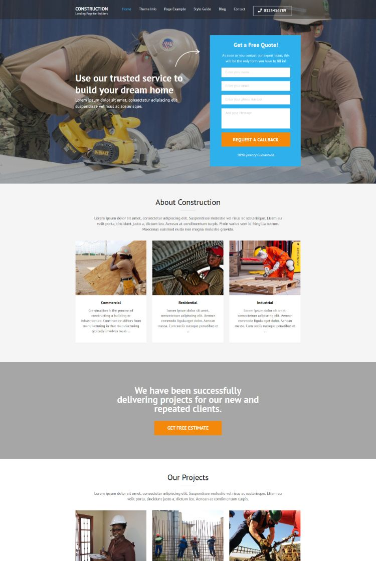 Construction – Landing Page for Builders