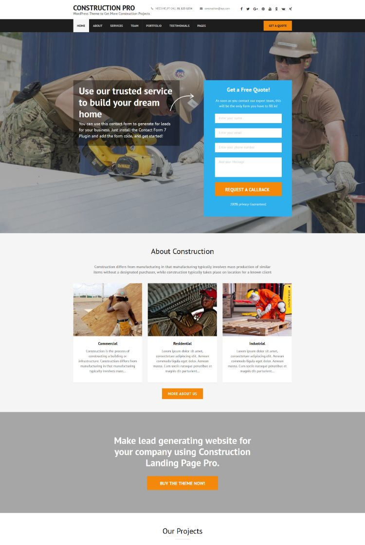 Construction Pro – WordPress Theme to Get More Construction Projects