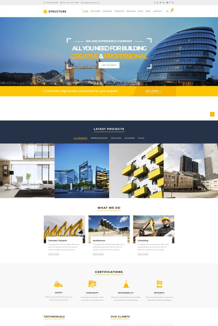 Construction WordPress Theme – Structure – The best Construction WordPress theme