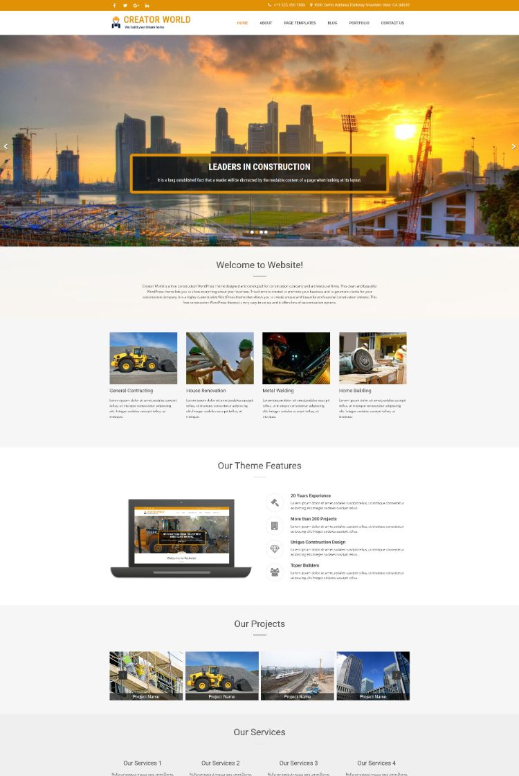 Creator World – Construction WordPress theme