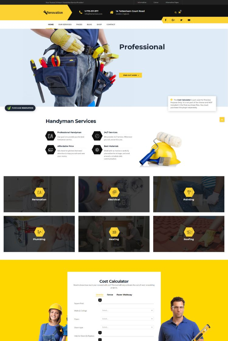 Renovation – Home Maintenance, Repair Service Theme
