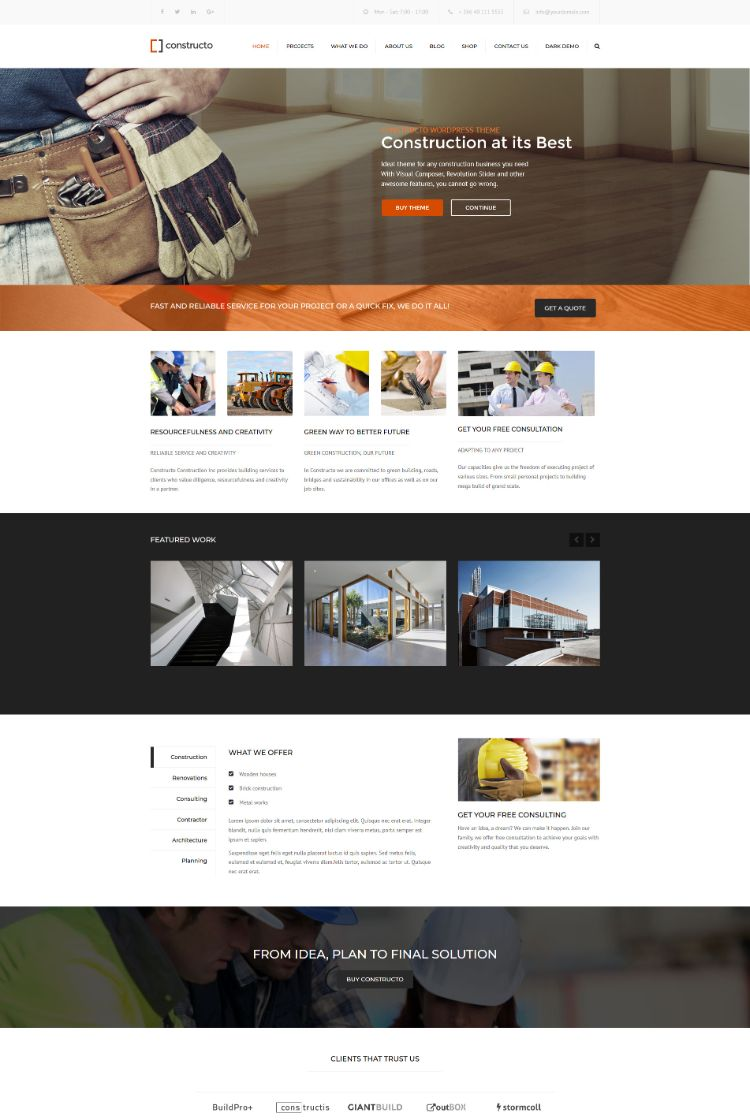 Constructo – Construction WordPress Business Theme