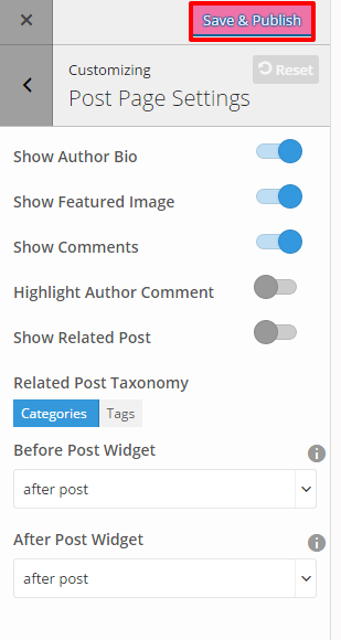 Post page Settings- EPP