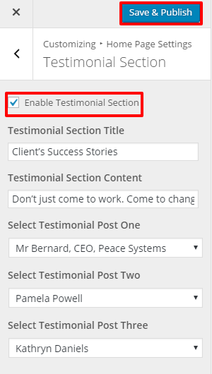 Testimonial Section Setting