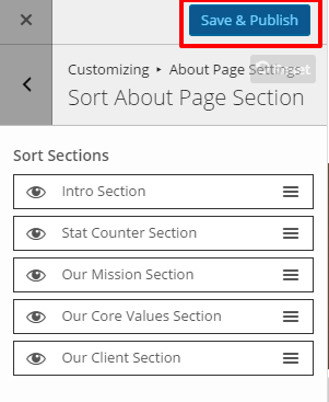 Sort About page Section
